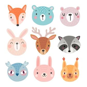 Cute woodland characters bear fox raccoon rabbit squirrel deer owl