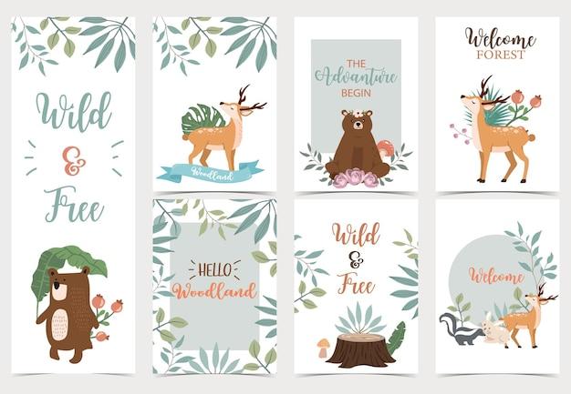 Милая лесная открытка с животными