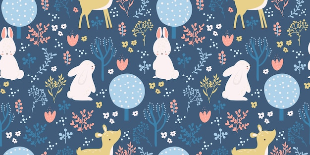 Cute woodland seamless pattern for children