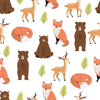 クマとキツネのかわいい森林シームレスパターン