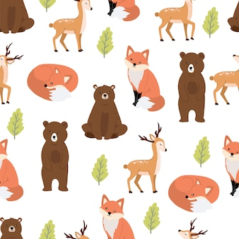 Cute woodland seamless pattern with bear and fox