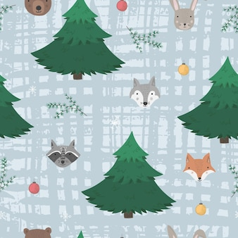 Cute woodland seamless pattern with cartoon forest animals, fir trees and snowflakes on textured blue background