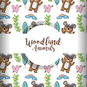 Cute woodland tribal animal in the forest