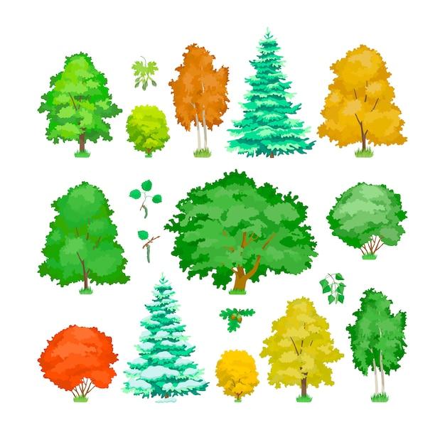 かわいい木本植物、エコアスペン、メープル、オーク、バーチ、トウヒの木。