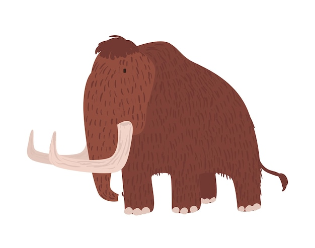 Cute woolly mammoth isolated on white surface