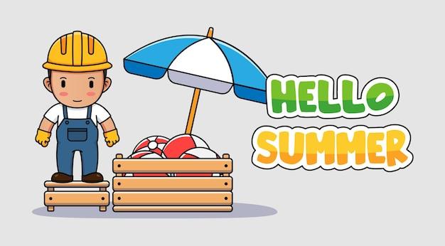 こんにちは夏の挨拶バナーとかわいい労働者