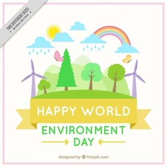 Симпатичный всемирный день окружающей среды фон в плоском дизайне
