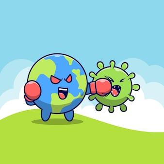 귀여운 세계는 코로나 바이러스와 싸우다