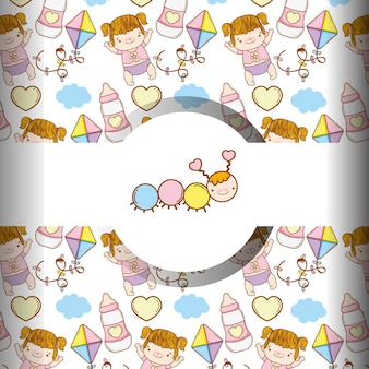 Cute worm and baby girl with toys background