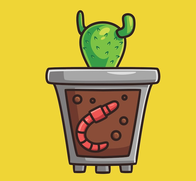 Cute worm fertilizer cactus plant. cartoon animal nature concept isolated illustration. flat style suitable for sticker icon design premium logo vector. mascot character
