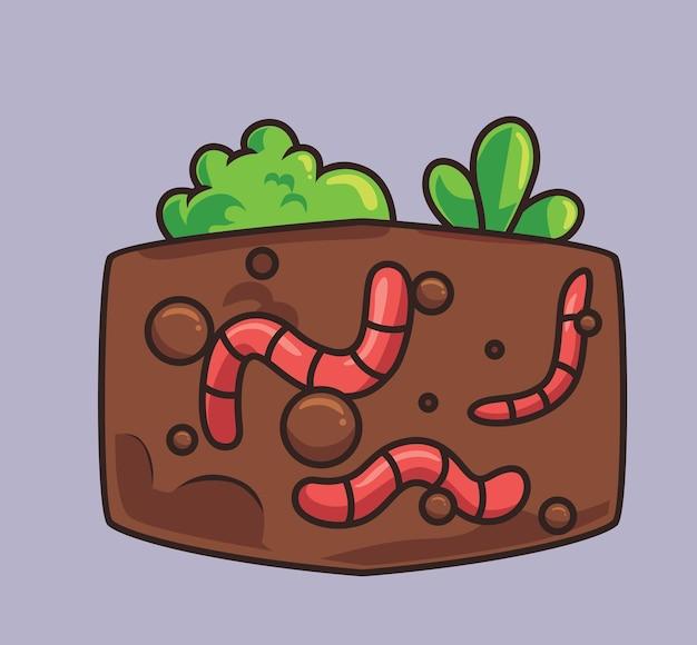 Симпатичные черви подземный завод удобрений мультфильм животных природа концепция изолированная иллюстрация квартира