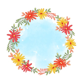 Cute wreath frame of autumn gerberas and leaves. blue watercolor