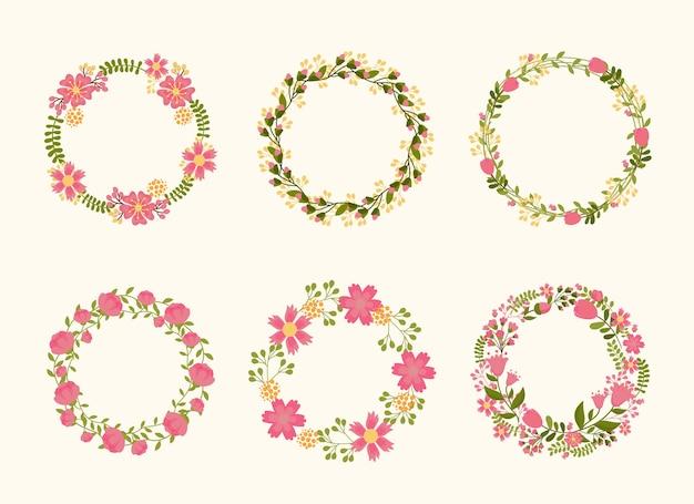 結婚式の招待状のためのかわいい花輪フレーム。花や植物の枝編み細工品