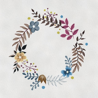 Cute wreath with flowers, leaves and branches in vintage watercolor style.  circle frame for your text on white background.