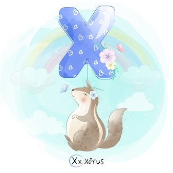 Cute xerus flying with alphabet-x balloon