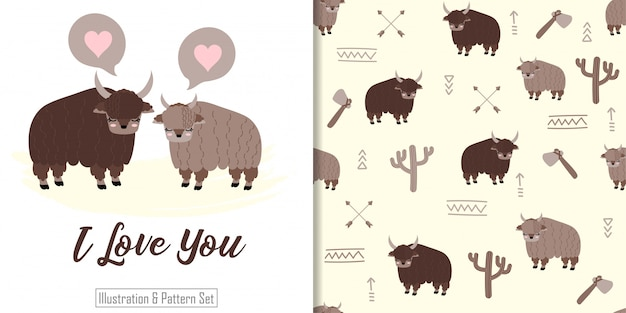 Cute yak animal seamless pattern with hand drawn illustration card set