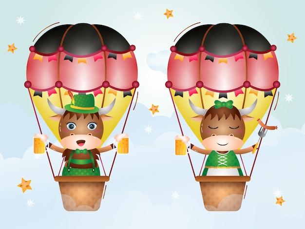 Cute yak on hot air balloon with traditional oktoberfest dress