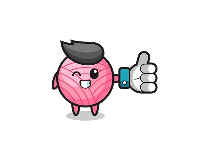 소셜 미디어 엄지손가락 기호가 있는 귀여운 원사 공, 티셔츠, 스티커, 로고 요소를 위한 귀여운 스타일 디자인