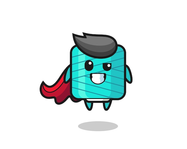 The cute yarn spool character as a flying superhero , cute style design for t shirt, sticker, logo element