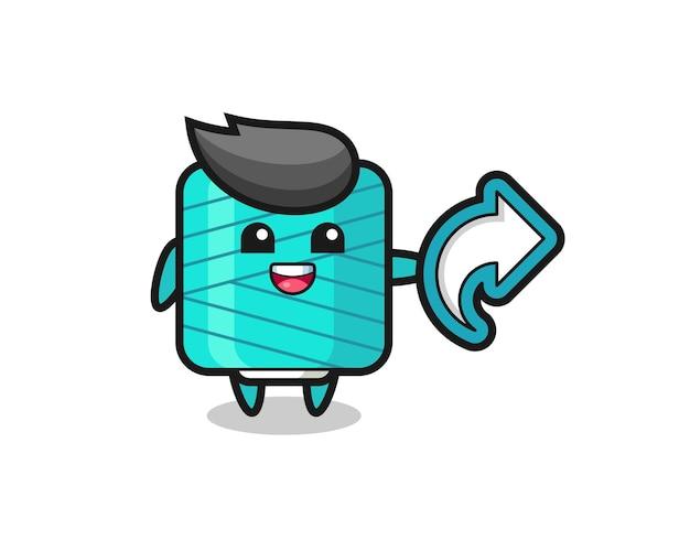 Cute yarn spool hold social media share symbol , cute style design for t shirt, sticker, logo element