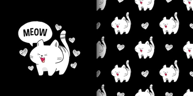 Cute yawning white cats on black background seamless pattern