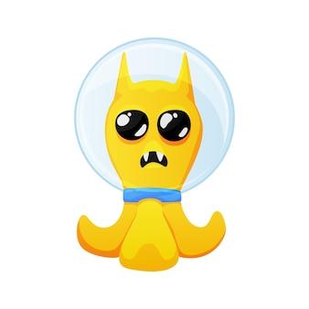 우주복 만화를 입고 큰 눈을 가진 귀여운 노란색 외계인