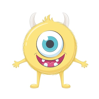 Cute yellow baby monster