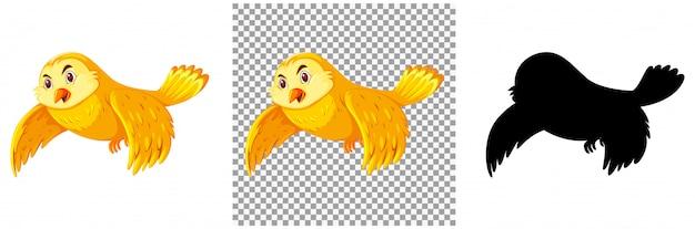 Cute yellow bird cartoon character