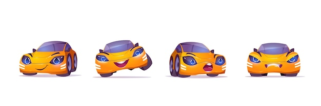 Cute yellow car character in different poses