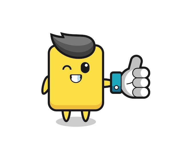 소셜 미디어 엄지손가락 기호가 있는 귀여운 옐로우 카드, 티셔츠, 스티커, 로고 요소를 위한 귀여운 스타일 디자인
