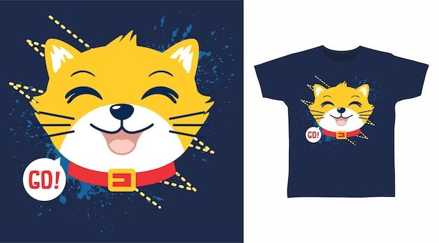 귀여운 노란 고양이 티셔츠 디자인