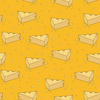 Cute yellow cheese cartoon seamless pattern