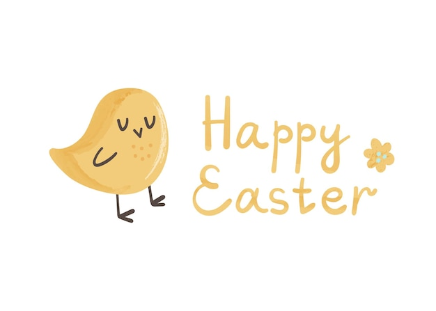 Cute yellow chick and lettering