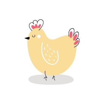 白いbackgroundvectorイラストで隔離かわいい黄色の鶏
