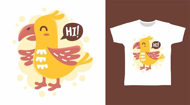 Симпатичный желтый дизайн футболки с курицей