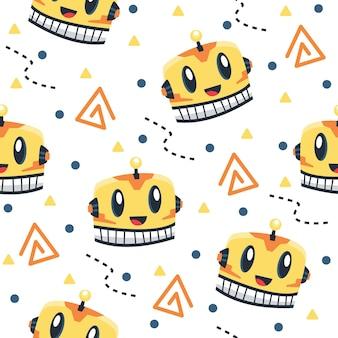 Cute yellow cyborgs pattern illustrations