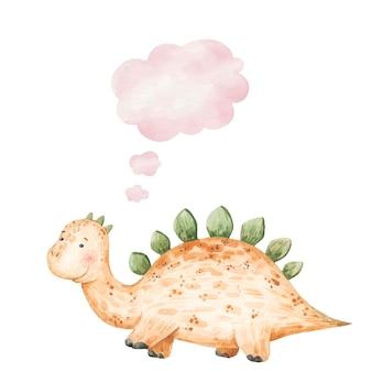 Милый желтый динозавр улыбается и думает значок, облако, детская иллюстрация акварель