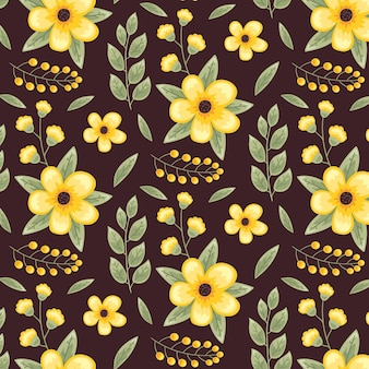 Cute yellow floral seamless pattern template
