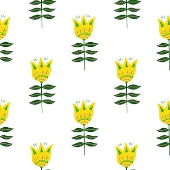かわいい黄色の花の民芸のシームレスなパターンは、白い背景で隔離。