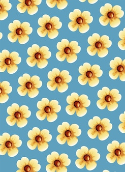 Cute yellow flowers pattern background  illustration