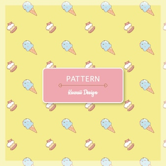 Cute yellow ice cream and cup cakes pattern
