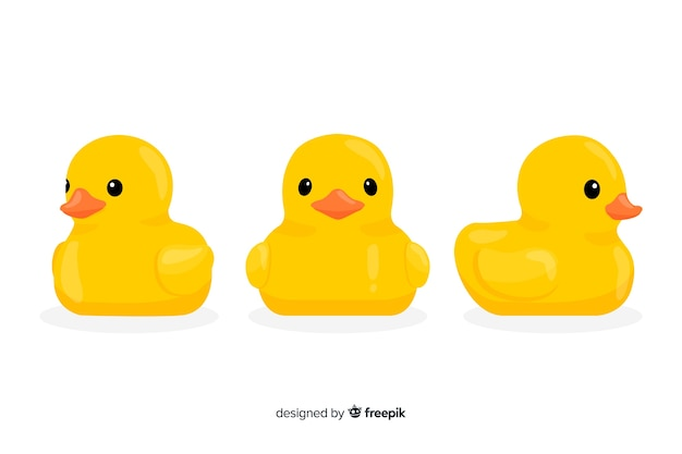 Cute yellow rubber ducklings illustrated