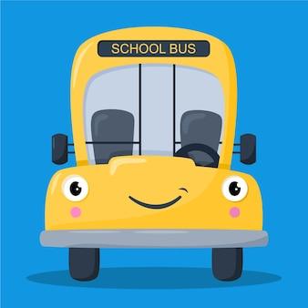 귀여운 노란색 스쿨 버스 그림