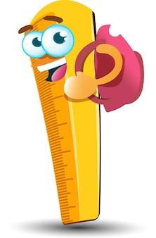 かわいい黄色の学校の定規漫画のマスコットのキャラクターとバックパック