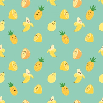 Cute yellow summer fruit seamless patterns background