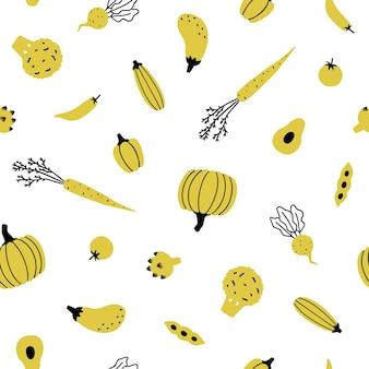 かわいい黄色い野菜。手描きのシームレスなパターン