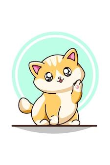귀여운 노란색 흰색 아기 고양이