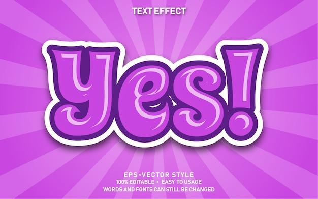 Редактируемый текстовый эффект cute yes