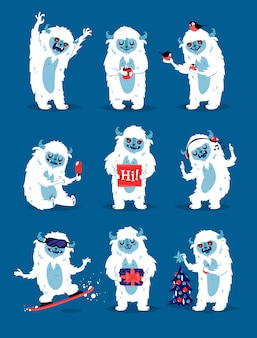 Cute yeti biigfoot monsters  set.