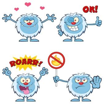 Cute yeti cartoon mascot character set